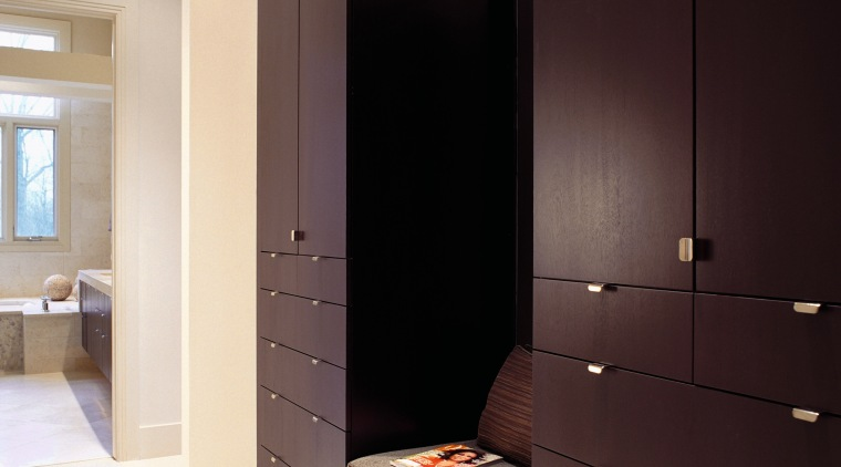 A view of the wooden cabinetry. cabinetry, furniture, interior design, room, wardrobe, black