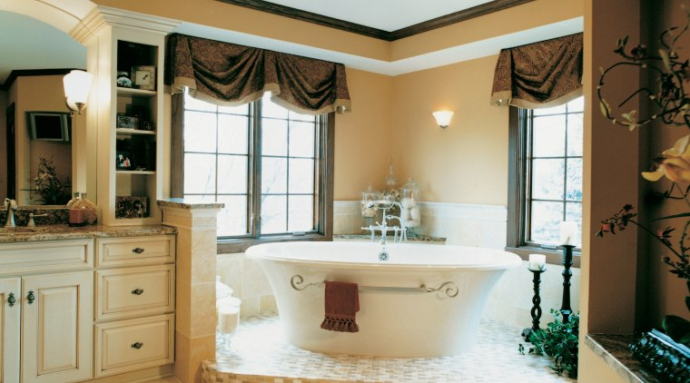 A view of a bathroom designed by Insignia bathroom, bathroom accessory, cabinetry, ceiling, countertop, estate, home, interior design, room, sink, window, orange, white, brown