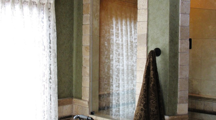 A view of a bathroom renovation by Buckland bathroom, floor, flooring, home, interior design, plumbing fixture, room, tile, wall, window, black, white