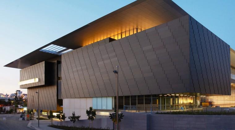A view of the Milenium Arts Project. architecture, brutalist architecture, building, commercial building, corporate headquarters, facade, headquarters, sky, structure, black