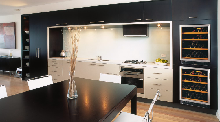 A view of a wine cabinet from Transtherm. cabinetry, countertop, interior design, kitchen, room, black, white