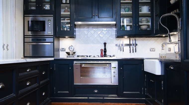 A view of a carpentry-built kitchen by Scullery cabinetry, countertop, floor, flooring, hardwood, home, interior design, kitchen, room, wood, wood flooring, black