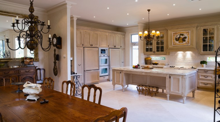 A view of the kitchen and dining areas, countertop, cuisine classique, dining room, estate, floor, flooring, home, interior design, kitchen, living room, real estate, room, brown, gray