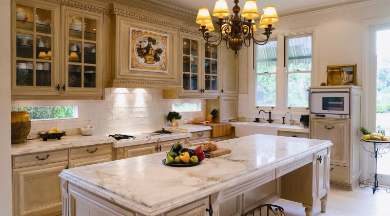 A view of the kitchen and dining areas, cabinetry, countertop, cuisine classique, interior design, kitchen, room, brown, gray