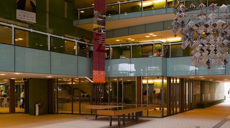 A view of some glasswork by G James architecture, building, shopping mall, gray, brown
