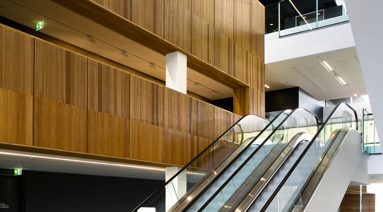A view of some esculators from Liftronic. architecture, daylighting, floor, handrail, interior design, stairs, wood, brown, gray