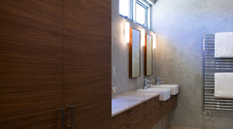 A view of the bathrom featuring frameless glass architecture, bathroom, ceiling, daylighting, floor, flooring, hardwood, home, house, interior design, real estate, room, tile, wall, wood, wood flooring, brown, gray