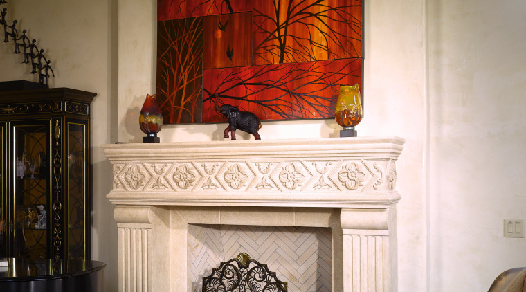 View of custom designed Scagliola stone   ceiling, fireplace, hearth, home, interior design, living room, room, wall, window, brown
