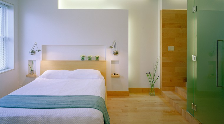 A view of the bedroom and bathroom areas, architecture, bed, bed frame, bedroom, ceiling, daylighting, floor, furniture, home, house, interior design, real estate, room, suite, wall, wood, gray, brown