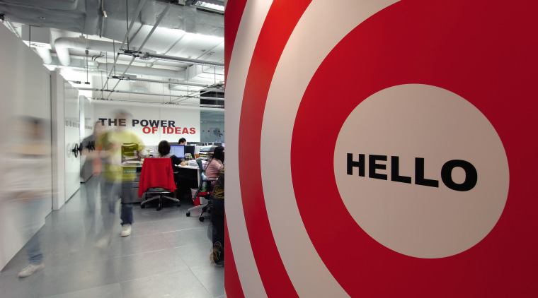 A view of the new MMoser-designed Hong Kong product design, signage, technology, gray, red