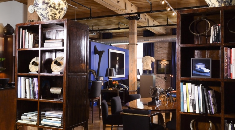 A view of the entrance to the loft, furniture, interior design, brown