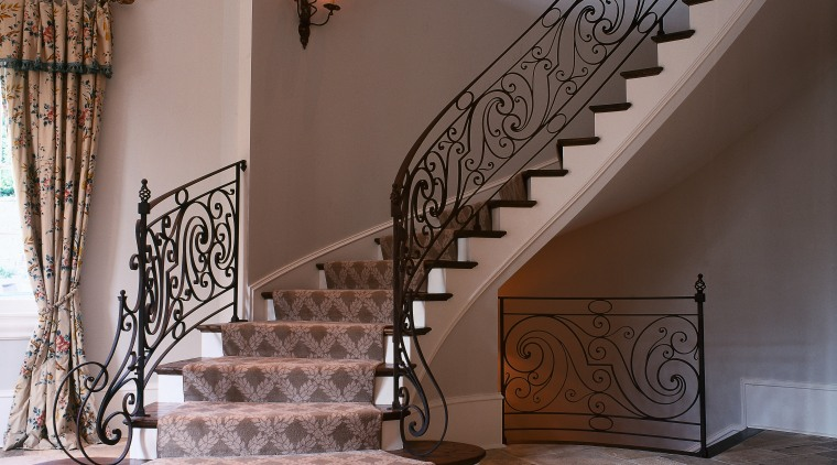 View of spiral staircase with oak treads and baluster, estate, floor, flooring, handrail, home, interior design, iron, property, stairs, wall, gray, brown