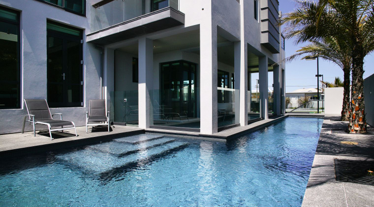 View of an L-shaped lap pool by Pool architecture, building, condominium, estate, home, house, property, real estate, swimming pool, villa, water, black