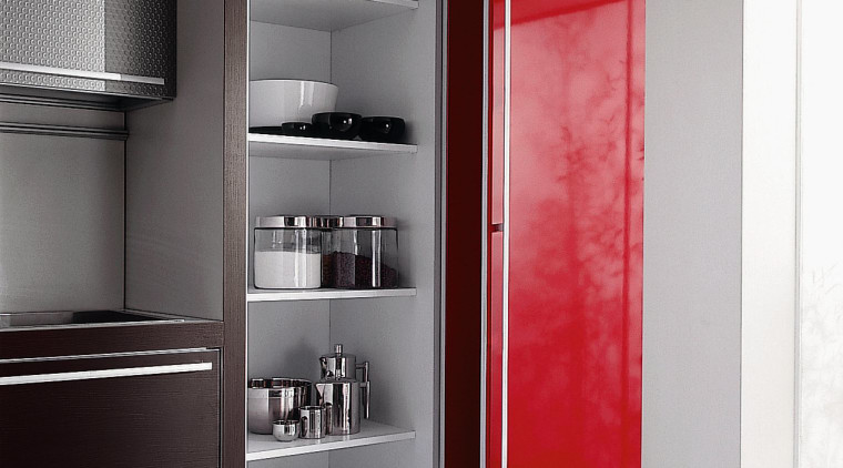 View of this kitchen cabinetry in oriental red bathroom accessory, bathroom cabinet, cabinetry, display case, furniture, product design, shelf, shelving, wardrobe, gray, white