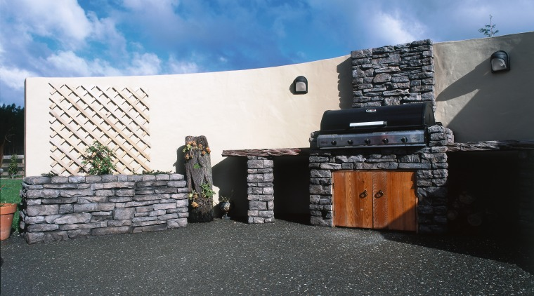 A view of a patio area using Stutex architecture, facade, property, roof, wall, black, teal