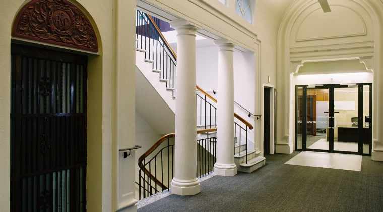view of the 86 Customhouse Quay lobby/hallway featuring architecture, ceiling, daylighting, estate, floor, flooring, interior design, lobby, real estate, window, black, white
