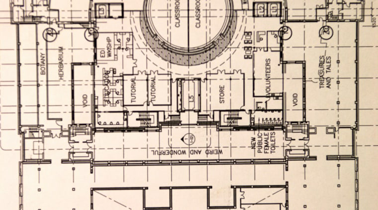 Floor plan of the Auckland war memorial museum arch, architecture, black and white, design, drawing, floor plan, font, line, pattern, plan, product design, structure, technical drawing, orange