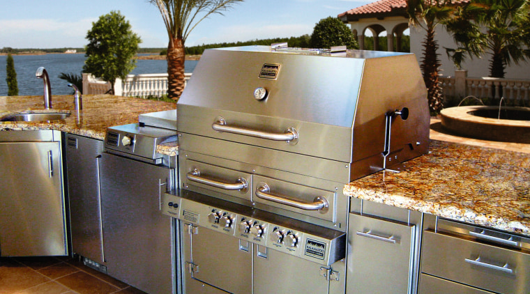 A view of the Stainless steel outdoor cooking countertop, kitchen, property, real estate, brown