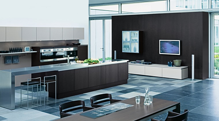 A view of this Poggenpohl Kitchen is designed countertop, furniture, interior design, kitchen, living room, product, product design, white, black