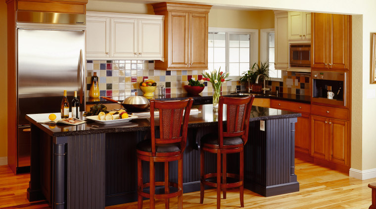 A view of a kitchen by NKBA. cabinetry, countertop, cuisine classique, dining room, floor, flooring, hardwood, interior design, kitchen, room, wood flooring, brown