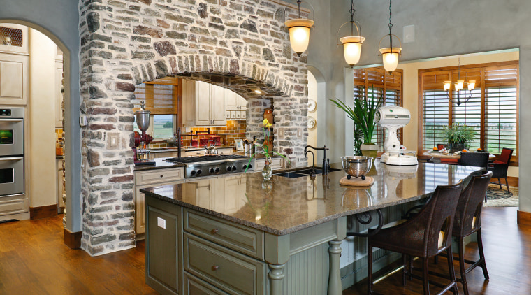 A view of this kitchen featuring quatrsz benchtops, countertop, cuisine classique, estate, home, interior design, kitchen, real estate, room, gray, brown
