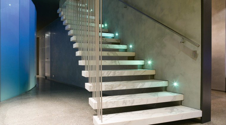 A view of the staircase, polished concrete flooring handrail, interior design, stairs, black, white
