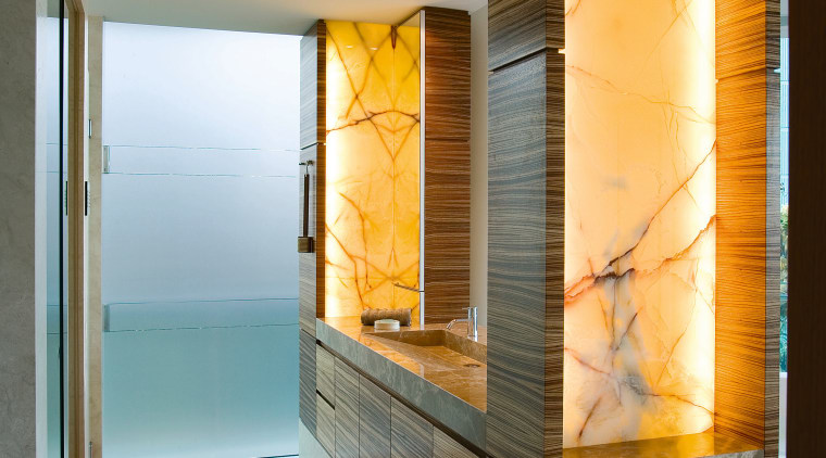 The custom-made vanity is designed as a piece architecture, home, house, interior design, room, wall, window, brown, gray