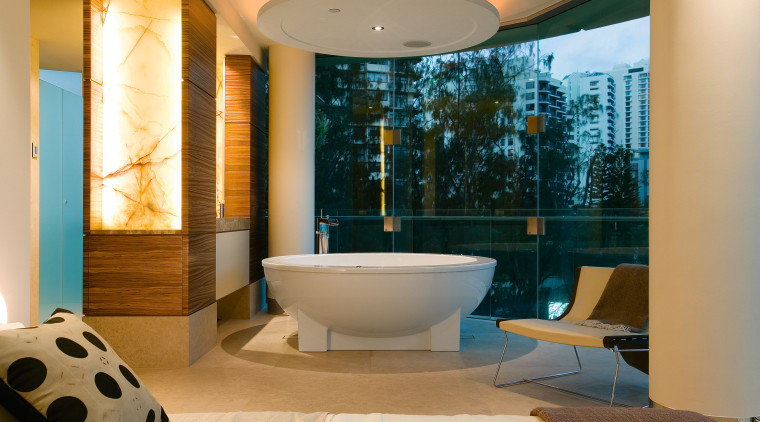 The master bathroom and bedroom are intergrated in architecture, bathroom, ceiling, estate, interior design, room, orange