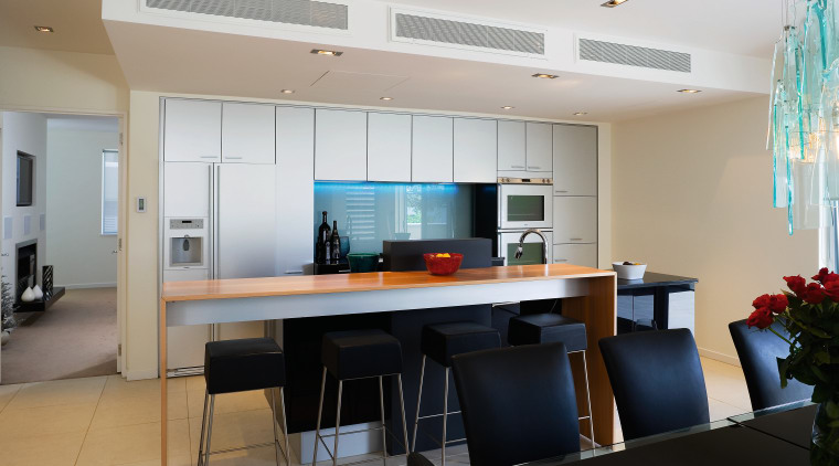 A view of the main home theatre system architecture, house, interior design, kitchen, real estate, room, table, gray