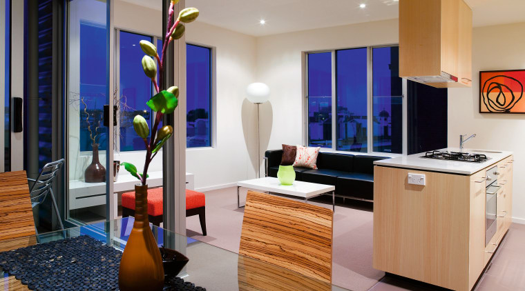 A view of this urban residential building implemented interior design, living room, real estate, room, gray