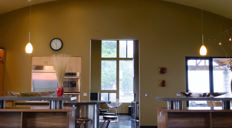 A view of the Kitchen and dining area ceiling, countertop, daylighting, floor, flooring, hardwood, home, interior design, kitchen, lobby, room, wood, wood flooring, brown