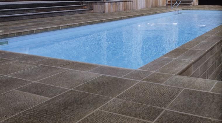 Textured ceramic Urban Life pavers are hard wearing, floor, flooring, hardwood, property, swimming pool, tile, wall, wood, gray, black