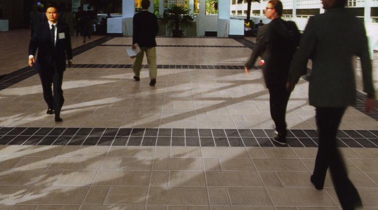 Textured ceramic Urban Life pavers are hard wearing, city, floor, flooring, infrastructure, pedestrian, public space, road, road surface, sidewalk, snapshot, street, urban area, brown