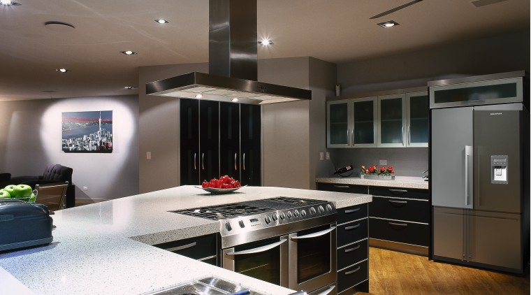 A view of some kitchen appliances from Fsher ceiling, countertop, interior design, kitchen, gray, black