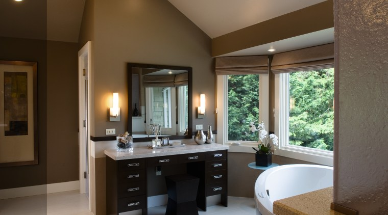 A view of a bathroom designed by Petersen bathroom, estate, interior design, room, brown, gray