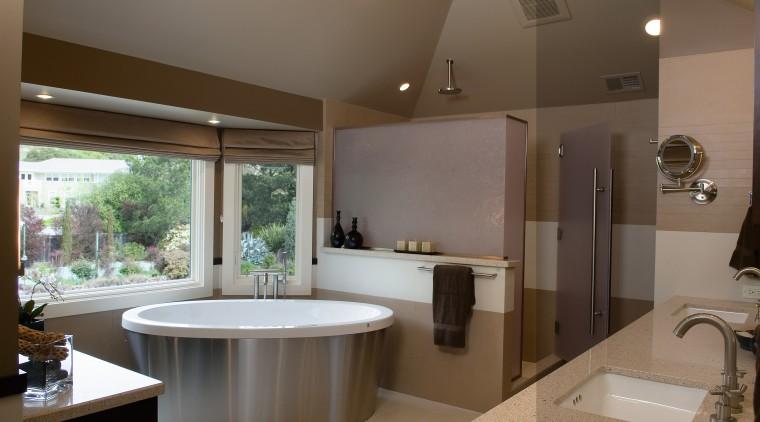 A view of a bathroom designed by Petersen bathroom, estate, home, interior design, real estate, room, window, brown, gray