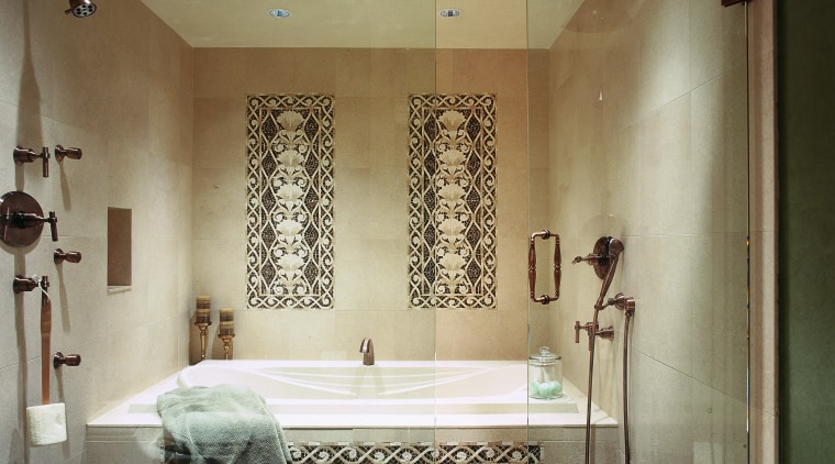 A view of a bathroom designed by Insignia bathroom, ceiling, floor, flooring, home, interior design, plumbing fixture, room, brown
