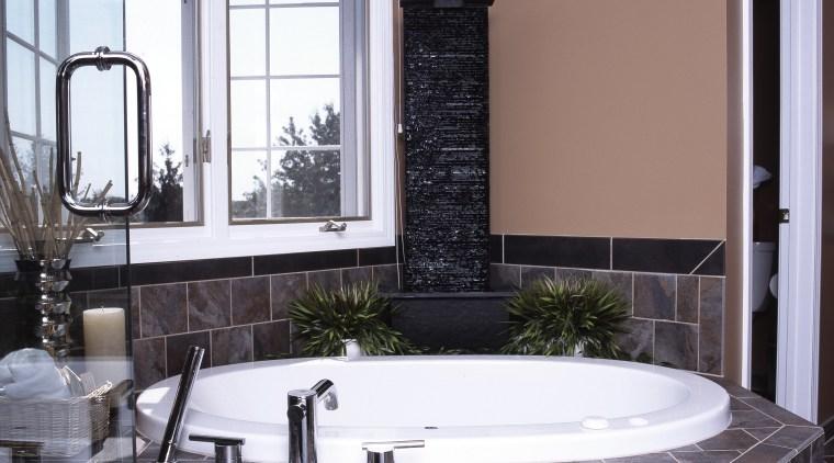 A view of Eighteenth Century Italian Architecture was bathroom, bathtub, estate, floor, flooring, home, interior design, room, tile, wall, window, gray, black, white