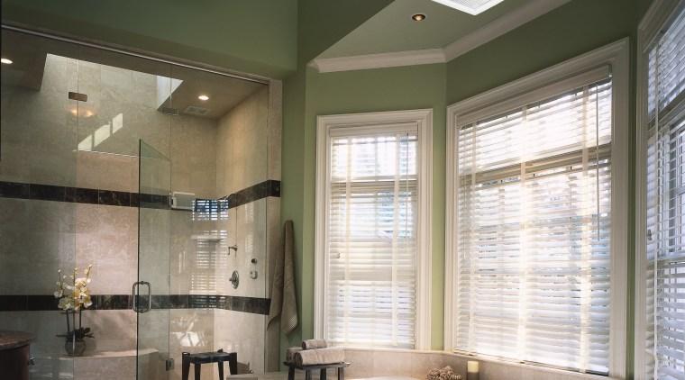 A Panasonic WhisperGreen ventilation fan on the ceiling bathroom, ceiling, daylighting, floor, home, interior design, lighting, room, window, gray, black