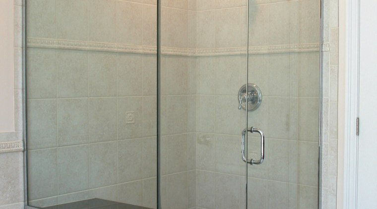 BathWorks Specializes in custom-designed shower enclouseres, and mirrors bathroom, glass, plumbing fixture, room, shower, shower door, tile, gray
