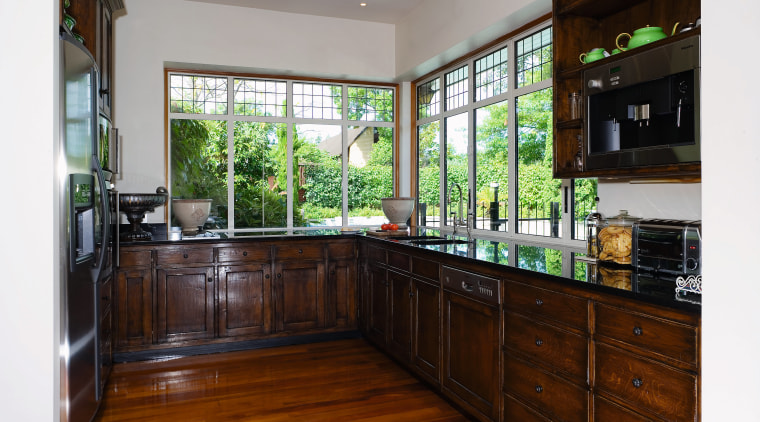 A view of this kitchen feautring solida aged cabinetry, countertop, estate, home, interior design, kitchen, property, real estate, room, window, gray