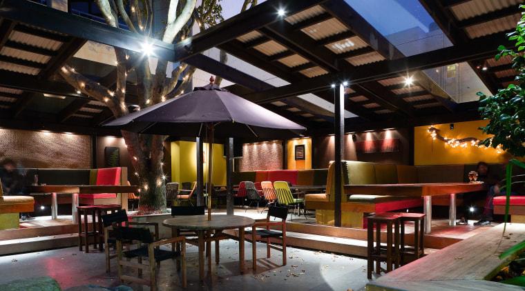 The partially enclosed garden bar makes the most interior design, lighting, lobby, real estate, black