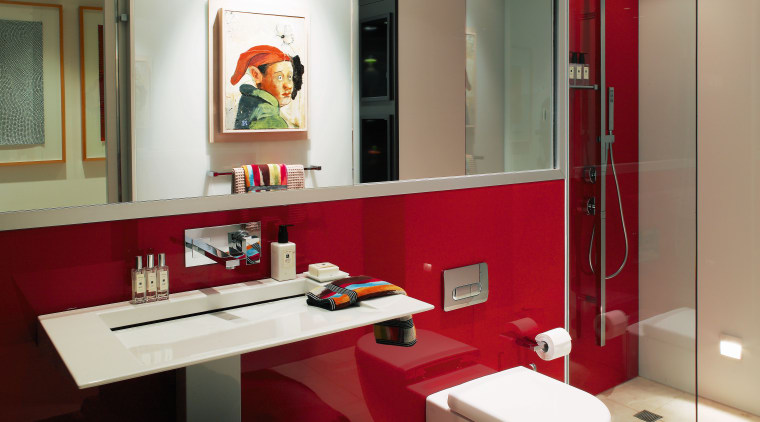 Reflective surfaces, including colour backed glass walls, enhance bathroom, interior design, room, white