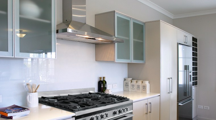A view of some appliances from Fisher and cabinetry, countertop, cuisine classique, interior design, kitchen, room, gray