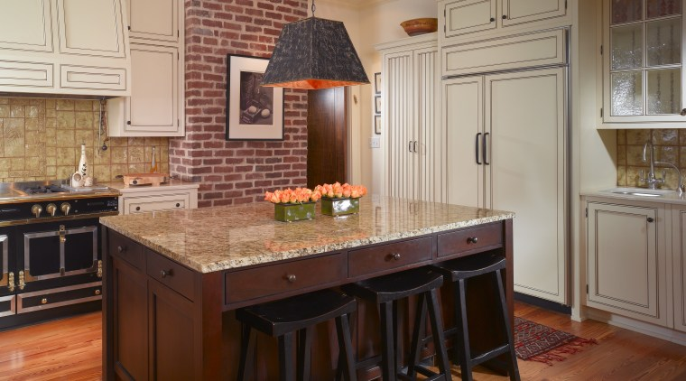 Wooden swing doors at the rear of the cabinetry, countertop, cuisine classique, dining room, floor, flooring, hardwood, home, interior design, kitchen, laminate flooring, real estate, room, wood, wood flooring, wood stain
