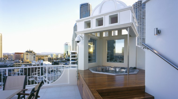 An exterior view of the patio and spa apartment, balcony, house, penthouse apartment, property, real estate, teal