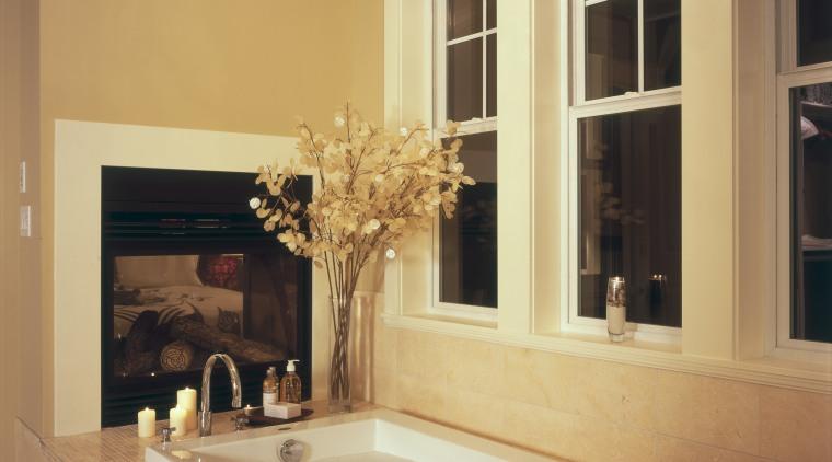 A view of the maser bathroom featuring tiled bathroom, ceiling, countertop, estate, floor, flooring, home, interior design, living room, room, wall, window, orange