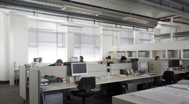 Steelwork and Services were exposed to gain additional daylighting, interior design, office, gray, white, black