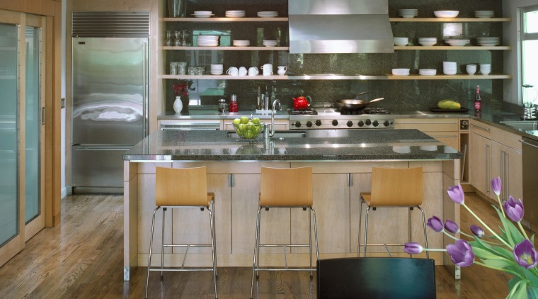 The kitchen now forms part of the open-plan cabinetry, countertop, cuisine classique, interior design, kitchen, brown, gray
