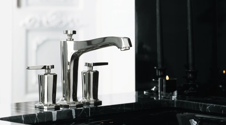 The new Margaux bath faucet collection from Kohler plumbing fixture, product design, sink, small appliance, tap, black, white